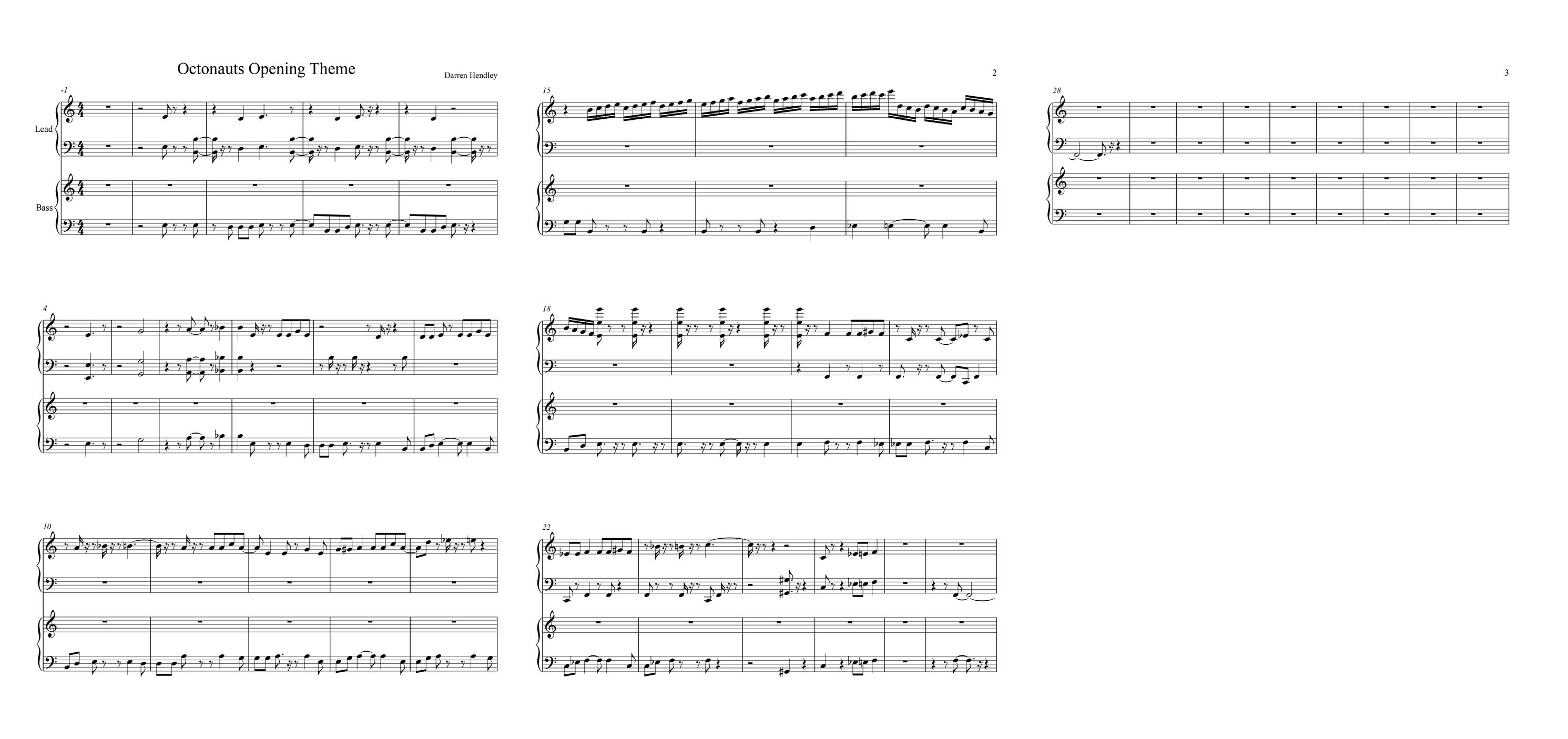 play the octonauts theme tune at home download the sheet music